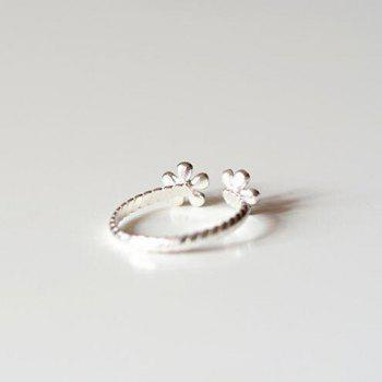 Floral Cuff Ring - SILVER ONE-SIZE