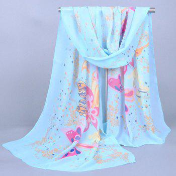 Chic Butterfly and Flower Doodle Pattern Women's Chiffon Scarf