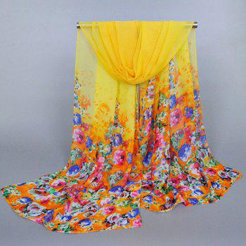 Chic Tiny Flowers Pattern Candy Color Women's Chiffon Scarf
