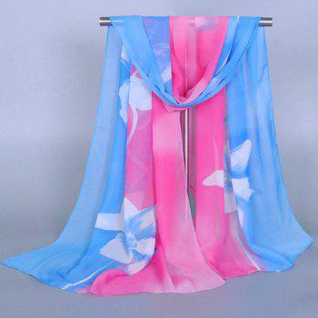 Chic Flower Pattern Two Color Match Women's Chiffon Scarf