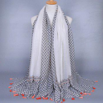Chic Small Tassel Embellished Rhombus Mesh Pattern Women's Voile Scarf