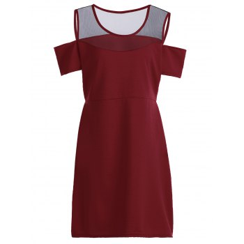 Sexy Scoop Neck Short Sleeve See-Through Women's Plus Size Dress