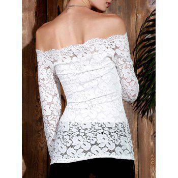 Stylish Long Sleeve Off-The-Shoulder Slash Collar Solid Color Lace Women's T-Shirt