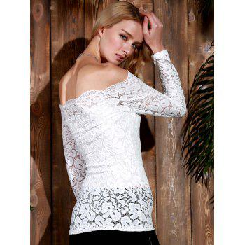 Stylish Long Sleeve Off-The-Shoulder Slash Collar Solid Color Lace Women's T-Shirt - WHITE S