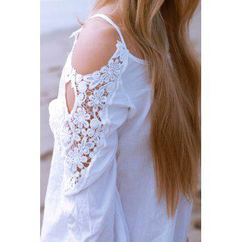 Stylish Long Sleeve Scoop Neck Hollow Out Women's Blouse - WHITE XL