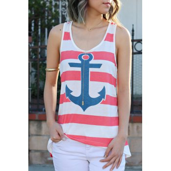 Stylish Scoop Collar Sleeveless Anchor Print Striped Women's Tank Top