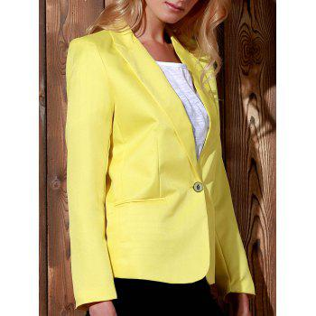 Fashionable Lapel Long Sleeve Solid Color Women's Blazer