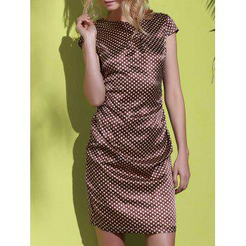 Stylish Scoop Neck Polka Dot Print Short Sleeve Women's Dress