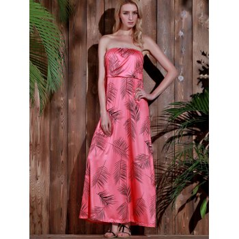 Stylish Sleeveless Strapless Printed Women's Dress - WATERMELON RED S