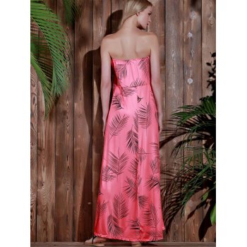 Stylish Sleeveless Strapless Printed Women's Dress - WATERMELON RED XL