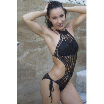 Sexy Halter Knitted Hollow Out One-Piece Swimsuit For Women - BLACK BLACK