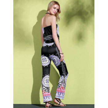 Stylish Strapless Sleeveless Loose-Fitting Printed Women's Exuma Preppy Jumpsuit - BLACK XL