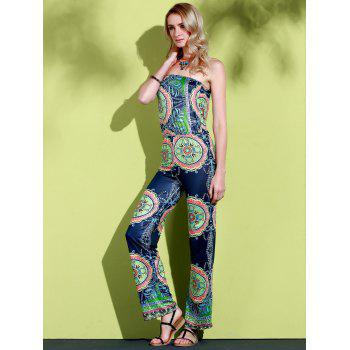 Stylish Strapless Sleeveless Loose-Fitting Printed Women's Exuma Preppy Jumpsuit - BLUE S