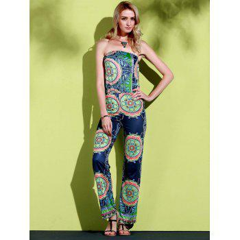 Stylish Strapless Sleeveless Loose-Fitting Printed Women's Exuma Preppy Jumpsuit - BLUE M