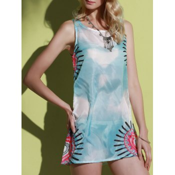 Elegant Sleeveless Round Neck Printed Women's Summer Dress