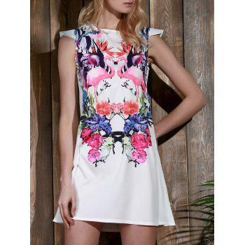 Endearing Colorful Crane and Floral Printed Straight Dress For Women