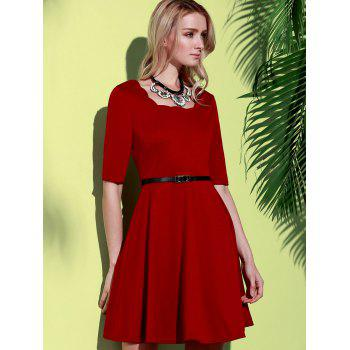 Stylish Half Sleeve Square Neck Pure Color A-Line Women's Dress - WINE RED WINE RED