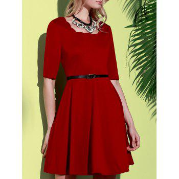 Stylish Half Sleeve Square Neck Pure Color A-Line Women's Dress