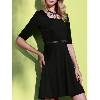 Stylish Half Sleeve Square Neck Pure Color A-Line Women's Dress - BLACK S