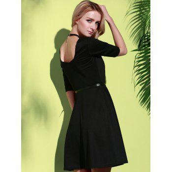 Stylish Half Sleeve Square Neck Pure Color A-Line Women's Dress - BLACK BLACK
