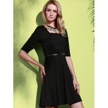 Stylish Half Sleeve Square Neck Pure Color A-Line Women's Dress - XL XL