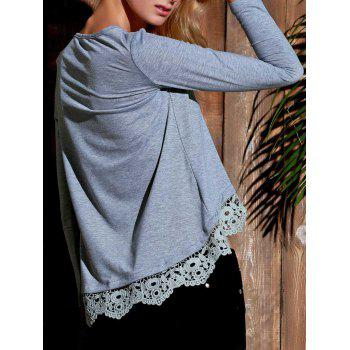 Charming Lace Spliced Hem Long Sleeve Gray T-Shirt For Women - GRAY S