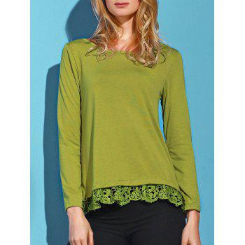 Charming Lace Spliced Hem Long Sleeve Solid Color T-Shirt For Women