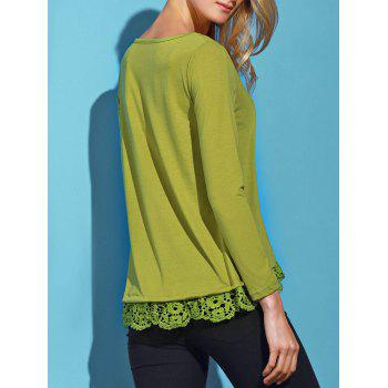 Charming Lace Spliced Hem Long Sleeve Solid Color T-Shirt For Women - ARMY GREEN XL