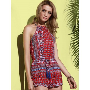 Sleeveless Hollow Out Printed Romper - RED M