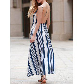 Sexy Women's Strappy Striped Open Back Maxi Dress