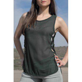 Stylish Sleeveless Scoop Neck Women's Chiffon Tank Top