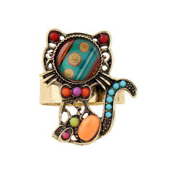 Fake Gem Bead Kitten Cuff Ring