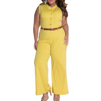 Elegant Women's Stand Collar Candy Color Sleeveless Jumpsuit - YELLOW M