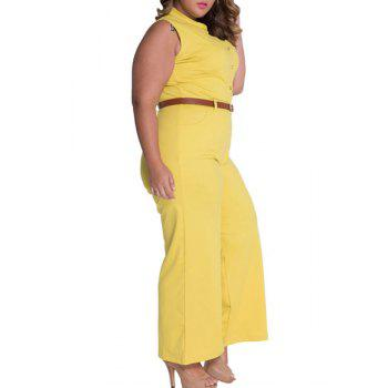 Elegant Women's Stand Collar Candy Color Sleeveless Jumpsuit - YELLOW YELLOW