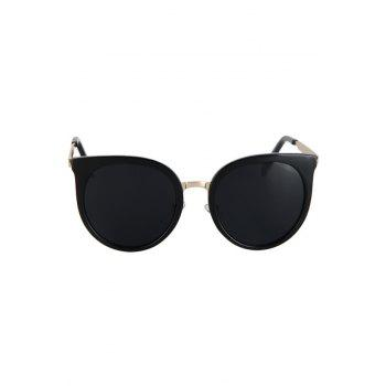 Fashion Metal Splicing Cat Eye Sunglasses For Women -  BLACK