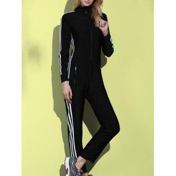 Attractive Striped Long Sleeve Zippered Bodycon Jumpsuit For Women