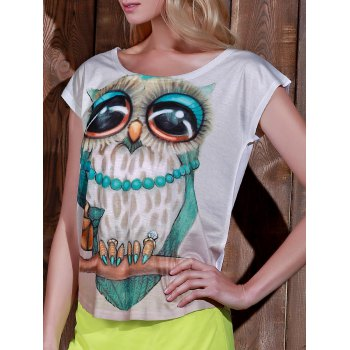 Casual Women's Scoop Neck Owl Print Short Sleeve T-Shirt