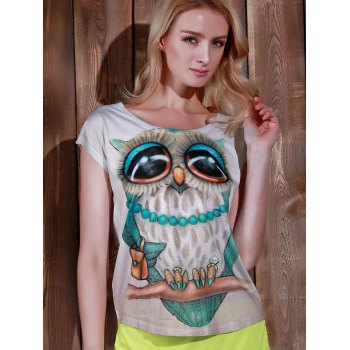 Casual Women's Scoop Neck Owl Print Short Sleeve T-Shirt - WHITE ONE SIZE(FIT SIZE XS TO M)