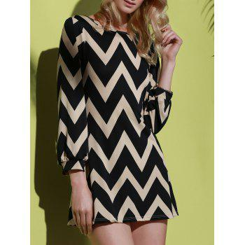 Fashionable Color Block Zigzag Print Dress For Women - BLACK XL