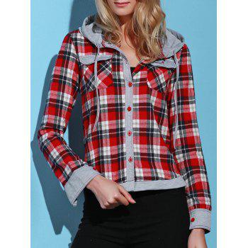 Stylish Hooded Long Sleeve Single-Breasted Gingham Women's Blouse