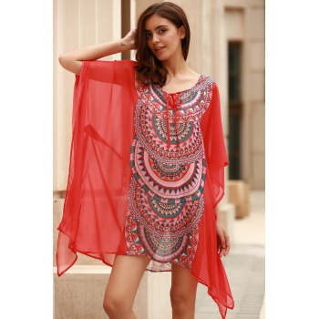Stylish Scoop Neck Bat-Wing Sleeve Geometric Print Women's Cover Up - XL XL