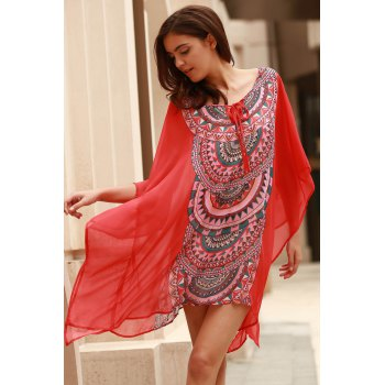 Stylish Scoop Neck Bat-Wing Sleeve Geometric Print Women's Cover Up