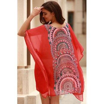 Stylish Scoop Neck Bat-Wing Sleeve Geometric Print Women's Cover Up - ORANGE M