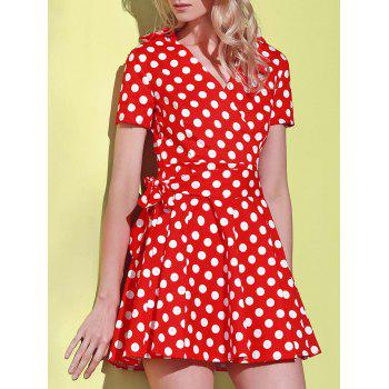 Polka Dot Print V-Neck Short Sleeve Ball Dress