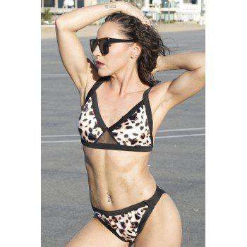 Sexy Leopard Push Up Bikini Set For Women - BLACK S