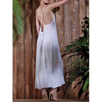 Stylish Spaghetti Strap Open Back Solid Color Women's Beach Dress - WHITE XL