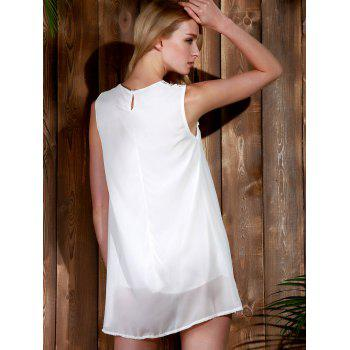Trendy Style Round Collar Lace Splicing Chiffon Sleeveless Women's Dress - WHITE WHITE