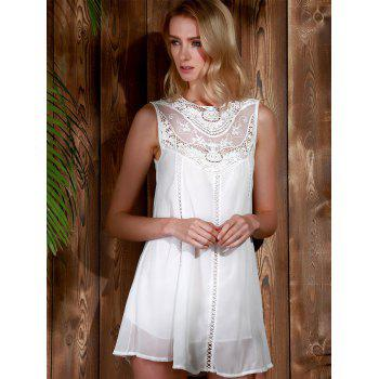 Trendy Style Round Collar Lace Splicing Chiffon Sleeveless Women's Dress