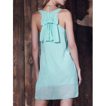 Scoop Neck Solid Color Bowknot Embellished Sleeveless Dress