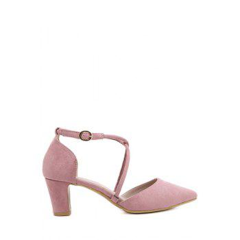 Stylish Pointed Toe and Cross-Strap Design Pumps For Women